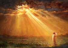 Yongsun Kim REJOICE IN HIS LIGHT 24x36 Canvas Giclee Art Print Jesus with Sheep
