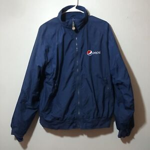 Vintage Pepsi Blue Full Zip Jacket By Aramark Embroidered Logo Size Large