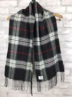 Covington Acrylic Gray Plaid Scarf Flannel Fringe Women's 53x11""