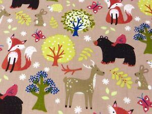 FOREST ANIMALS cotton fabric fox deer rabbit bird hedgehog bear tree craft kids