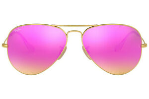 Ray-Ban RB3025 112/4T Pink Women Aviator Cyclamen Flash Lens with Gold Frame,