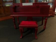 "DOLLHOUSE ""SPINET PIANO MAHOGANY WITH STOOL"""