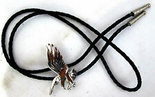Bolo Tie Flyinig Landing Eagle Silver-tone Slide Black Leather Stainless tips