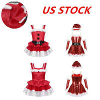 US Girls Christmas Dress Costumes Kid Princess Tutu Skirts Party Cosplay Outfits