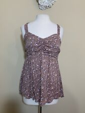 Torrid Women's Floral V Neck Sleeveless Cami Top Size M/L 00 Taupe And Cream