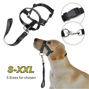 Dog Muzzle Strap Head Collar Stops Nose Reigns Pet Pulling Halter