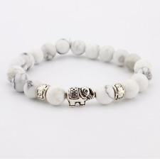 UK Silver Elephant + Hearts White Howlite Crystal Gemstone Bead Bracelet. Charka