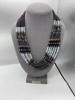 Vintage Multi Strand Purple Amethyst Crystal Beads Statement Necklace