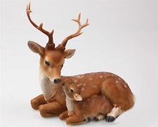Wunderschöne Deko Figur Skulptur Hirsch mit Kitz Mama Kind braun 21x13x20 cm NEU