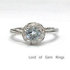 5mm Round Cut Aquamarine Engagement Promise Diamonds Halo Ring 14K White Gold 6#