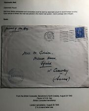 1943 British Consulate Barcelona Spain Diplomatic Pouch Cover To North Crawley