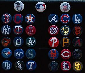 """MLB Team Magnet Set (All 30 Teams) - 1 1/2"""" Inch Magnet Set"""