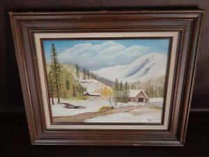 "Framed Original Painting Winter Barn Scene Signed ""A. Kerr 83"""