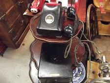 Vintage Antique Kellogg Bakelite Red Bar Phone w/Crank Ringer Box