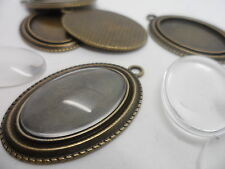 5 Oval Antique Bronze Pendant Kit,settings.44x30mm,tray 30x20mm.Cabochons to fit