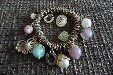 Armband Armreif Bettelarmband Glücksarmband, messing, Perlen Schmetterling 6,5cm
