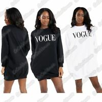Ladies Vogue Print Baggy Oversized Loose Fit Side Pockets Sweatshirt Tunic Dress
