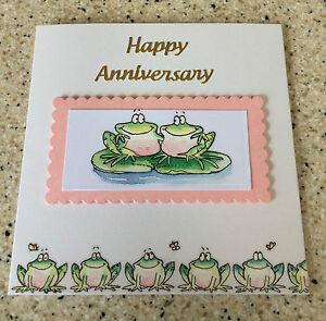 Handmade Happy Anniversary Card frog couple on lili pad Wedding Anniversary card