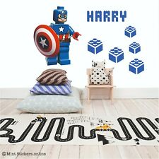 Captain America Name Customisation Wall Sticker Decal Boys Bedroom Lego Decor