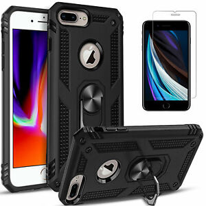 For iPhone 8 7 Plus Case Ring Kickstand Dropproof Cover+Tempered Glass Protector