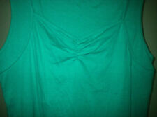 New Women 16 Ruched Bust Detailed Strap  Green Cotton Tank T Shirt Top Target
