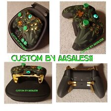 XBOX  ONE ELITE WIRELESS CONTROLLER CUSTOM WEED/420 W/GREEN  LED CHROME BUTTONS