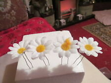 SETS OF 4 SLIGHTLY LARGER DAISY HAIR PINS IN SILK ON BLACK OR BROWN PINS