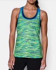 NEW LADIES UNDER ARMOUR MULTICOLOUR ALPHA MESH PRINTED LOOSE TANK TOP LARGE