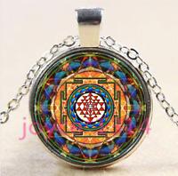 Sri Yantra Photo Cabochon Tibetan silver Glass Chain Pendant Necklace #4168