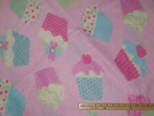 Large Pink Cupcake Fleece Fabric    by the Yard