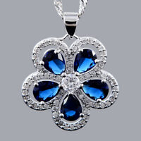 Xmas Pear Cut Blue Sapphire 18K White Gold Plated CZ Pendant Necklace Free Chain