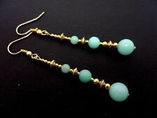 A PAIR BLUE JADE BEAD GOLD TONE EXTRA LONG DANGLY EARRINGS. NEW.