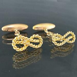 Antique c1900 Solid 15k Yellow GOLD Nautical Figure Eight KNOT CUFF LINKS 5.2gm