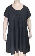 GRIZAS Charcoal Gray A-Line Pintuck Linen Tunic Dress XL NWT $178 US 16 18 20W