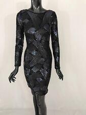 NWT BCBG Max Azria open back mini black sequin long sleeves Dress Size XS