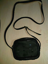 Auth MCM Visetos Canvas, Black Leather Crossbody Mini Shoulder Pouch Bag Germany