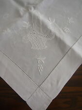 VINTAGE MONOGRAMMED LINEN TABLECOTH 35 x 36 FREE POST!