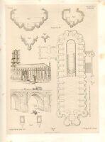 1857 Grande Arquitectura Estampado ~ Alby Catedral St Cecile Medieval Arte