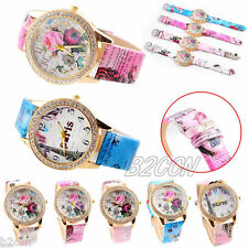 Women Crystal Quartz Watch Flower Eiffel Tower Paris Print Leather Wrist Watches