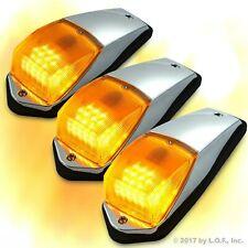 3 pcs Amber Chrome 31 LED Cab Marker Lights fits Peterbilt Kenworth Freightliner