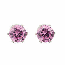 Cutting Stud Earrings Pink 925 Sterling Silver Classic Diamond