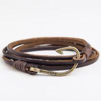 Genuine Leather Bracelet Wrap Rope Fish Hook Brown Black Man Fashion Wristband