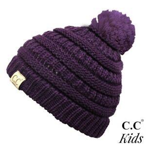 C.C Kids Purple Solid Color Knit Pom Beanie