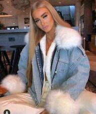 Women's Ladies Oversized Faux Fur Hooded Lined Denim Jacket Collared Winter Coat