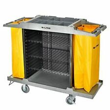 Alpine Industries Housekeeping Cart Janitorial Cleaning Cart 3 Large Shelves