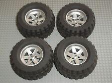 4 x roue LEGO TECHNIC 22969c01 MetallicSilver wheel 22969 + Tyre 32298 Set 8466