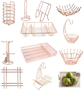 COPPER DISH DRAINER RACK MUG TREE & KITCHEN TOWEL PAPER ROLL HOLDER FRUIT BASKET