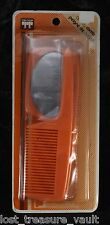 Vintage Tip Top Hair Comb Mirror Combo Peach Plastic Made in Hong Kong