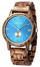 NIB LEFTLY Mens Wooden Watch Handmade Wood Band Lightweight Miyota New In Box