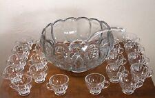 Vintage Mid Century L.E. Smith Clear Glass Dominion Punch Bowl Set 20 Cups Ladle